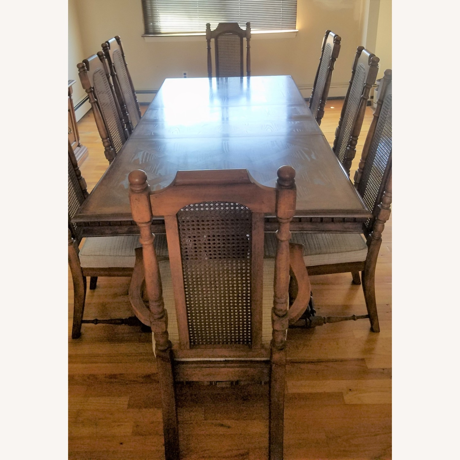 Double Pedestal Dining Table w/ 8 Cane Back Chairs - image-1