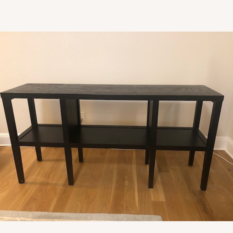 Crate & Barrel Dark Wood 2-Tier Console Table - image-1