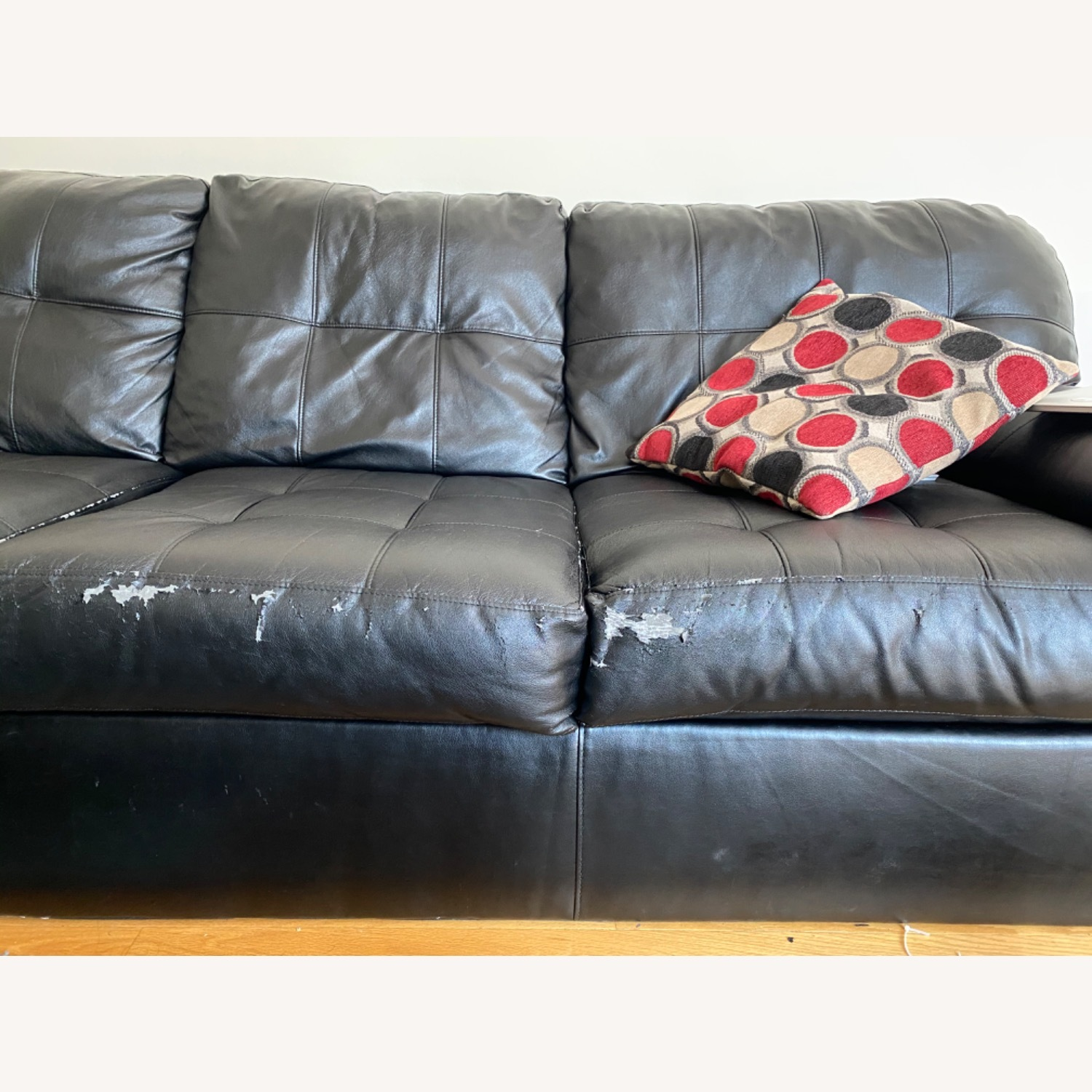 Bob's Discount Black Leather Couch - image-5