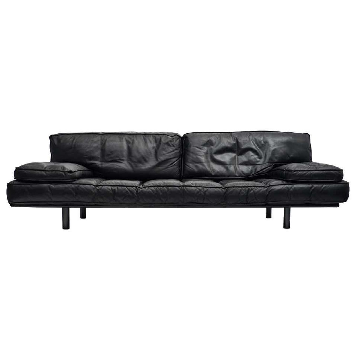 Zanotta Black Leather Sofa - image-8