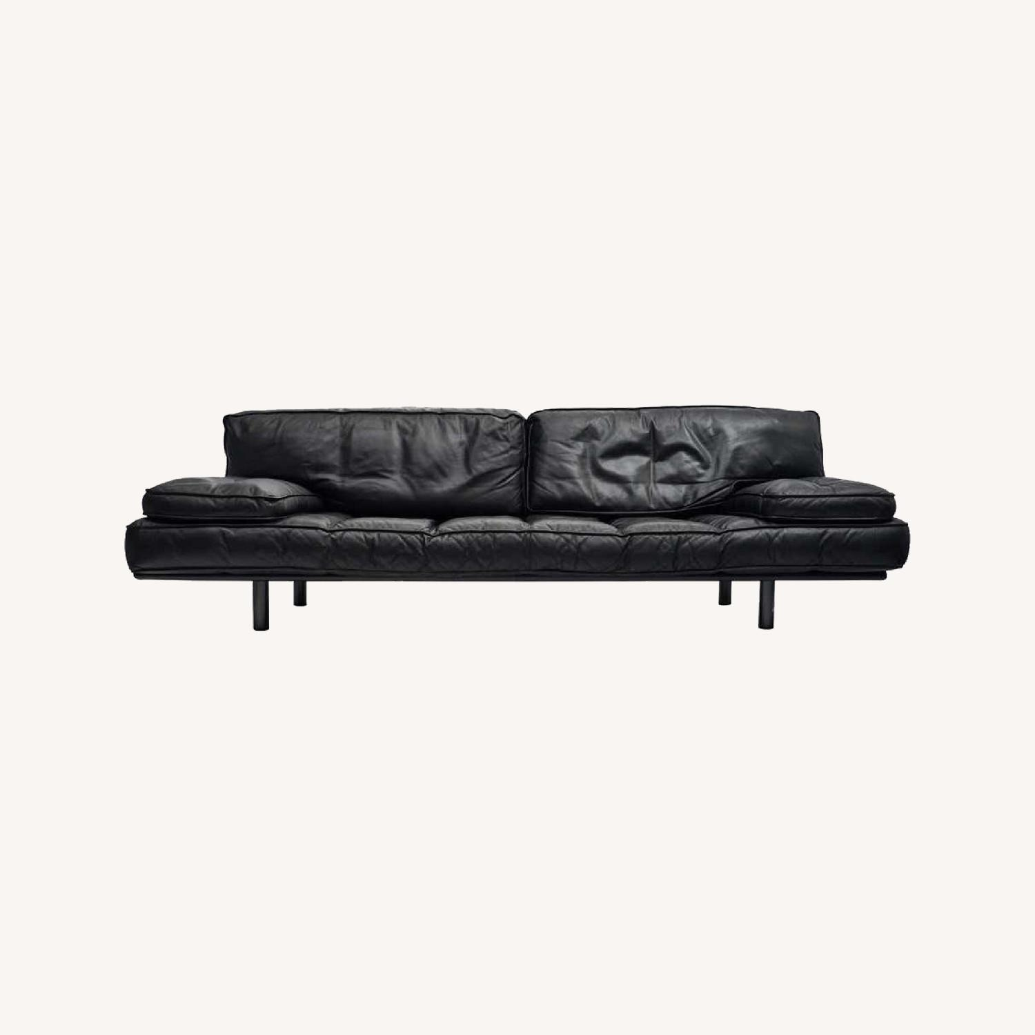 Zanotta Black Leather Sofa - image-0