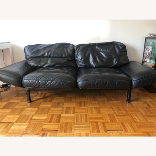 Used Zanotta Black Leather Sofa for sale on AptDeco