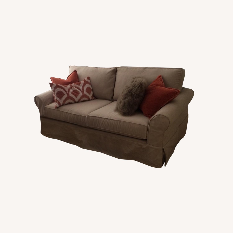 Pottery Barn Roll Arm Slipcover Sofa - image-0