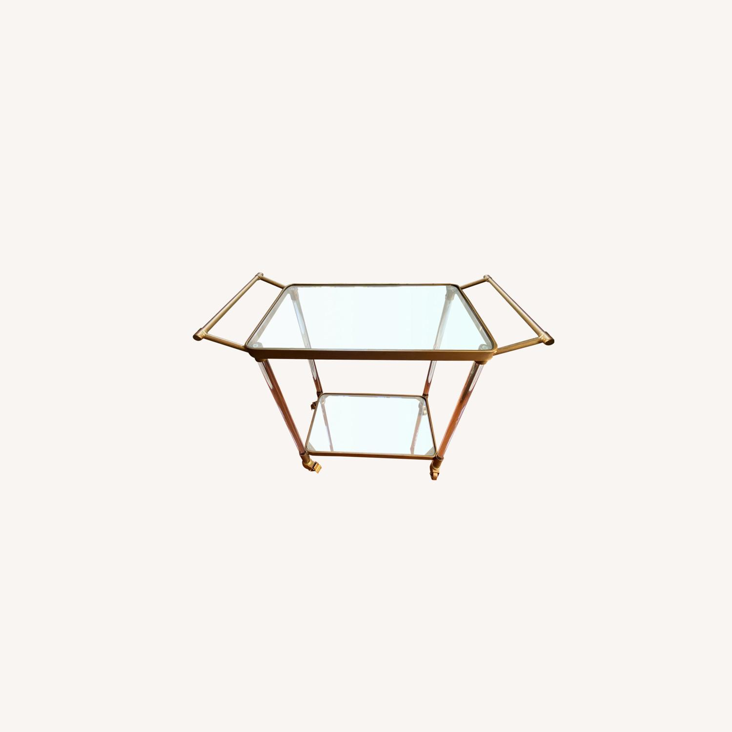 Lucite and Gold Bar Cart with Glass Shelves - image-0