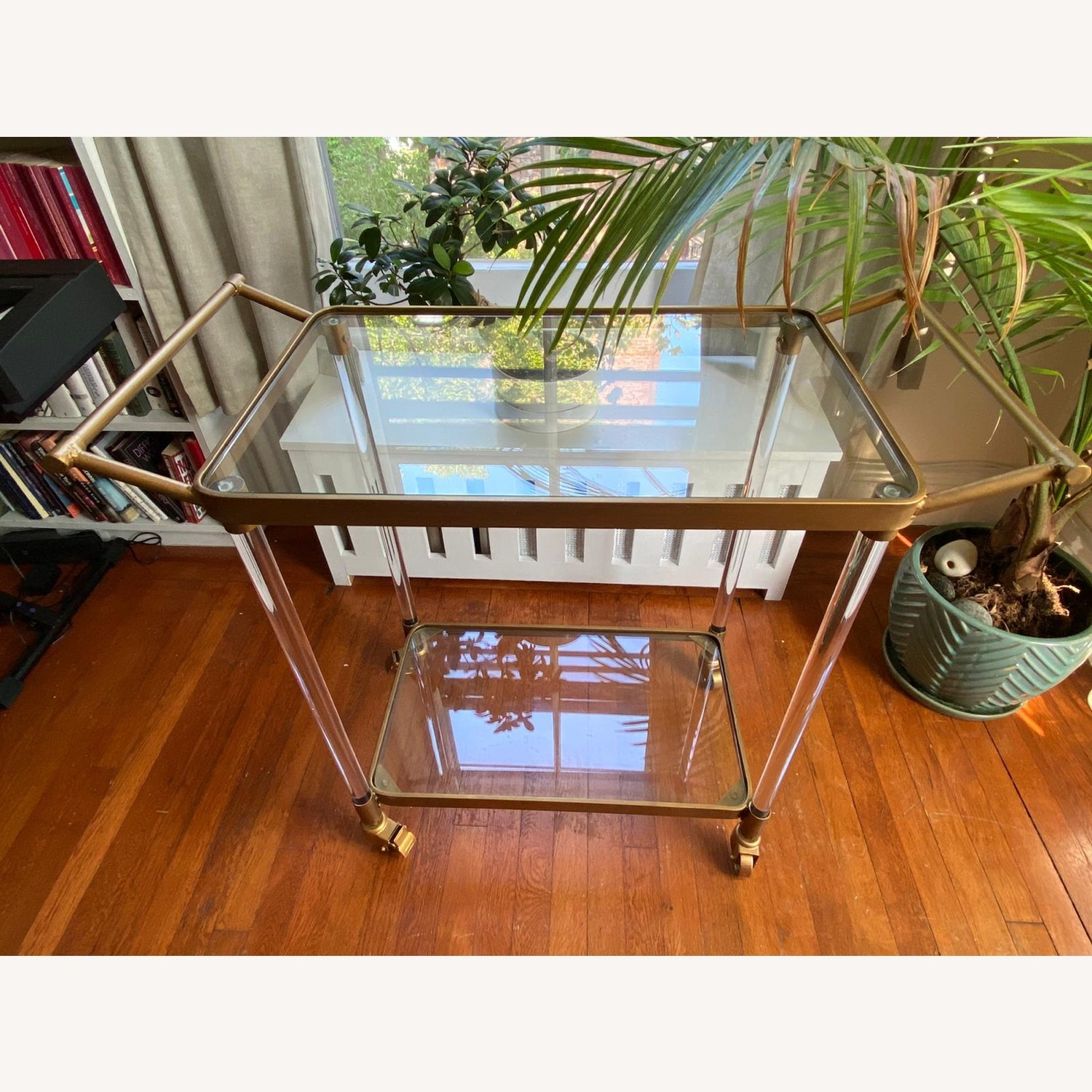 Lucite and Gold Bar Cart with Glass Shelves - image-1