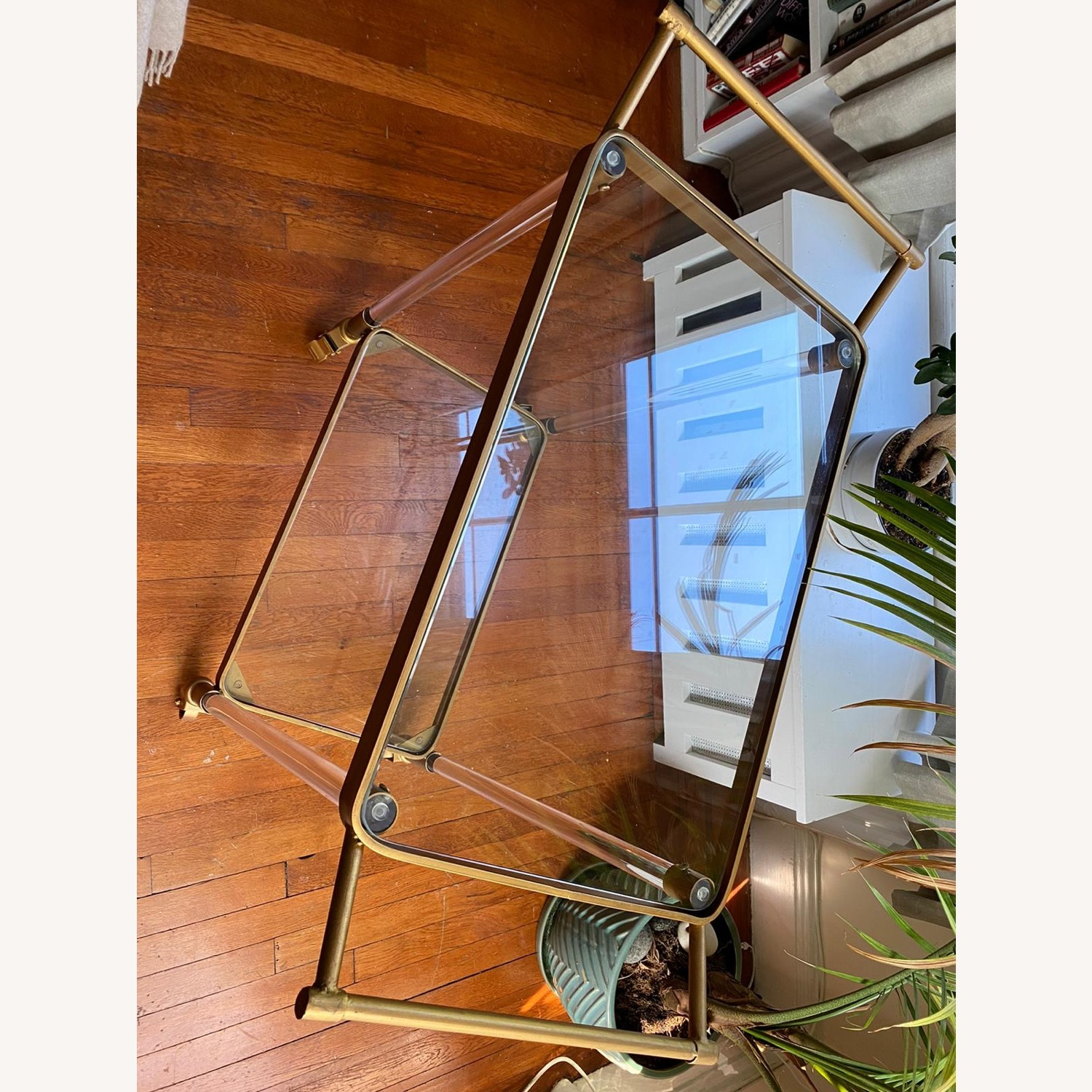 Lucite and Gold Bar Cart with Glass Shelves - image-3