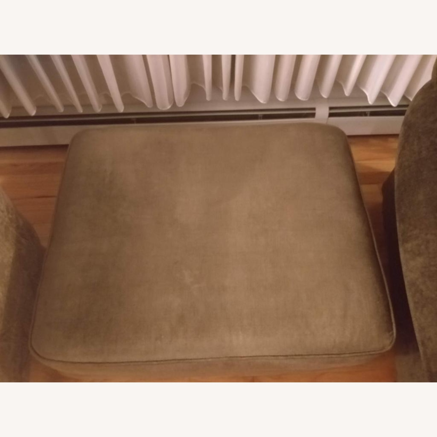 Crate & Barrel Forest Green Armchair & Ottoman - image-3