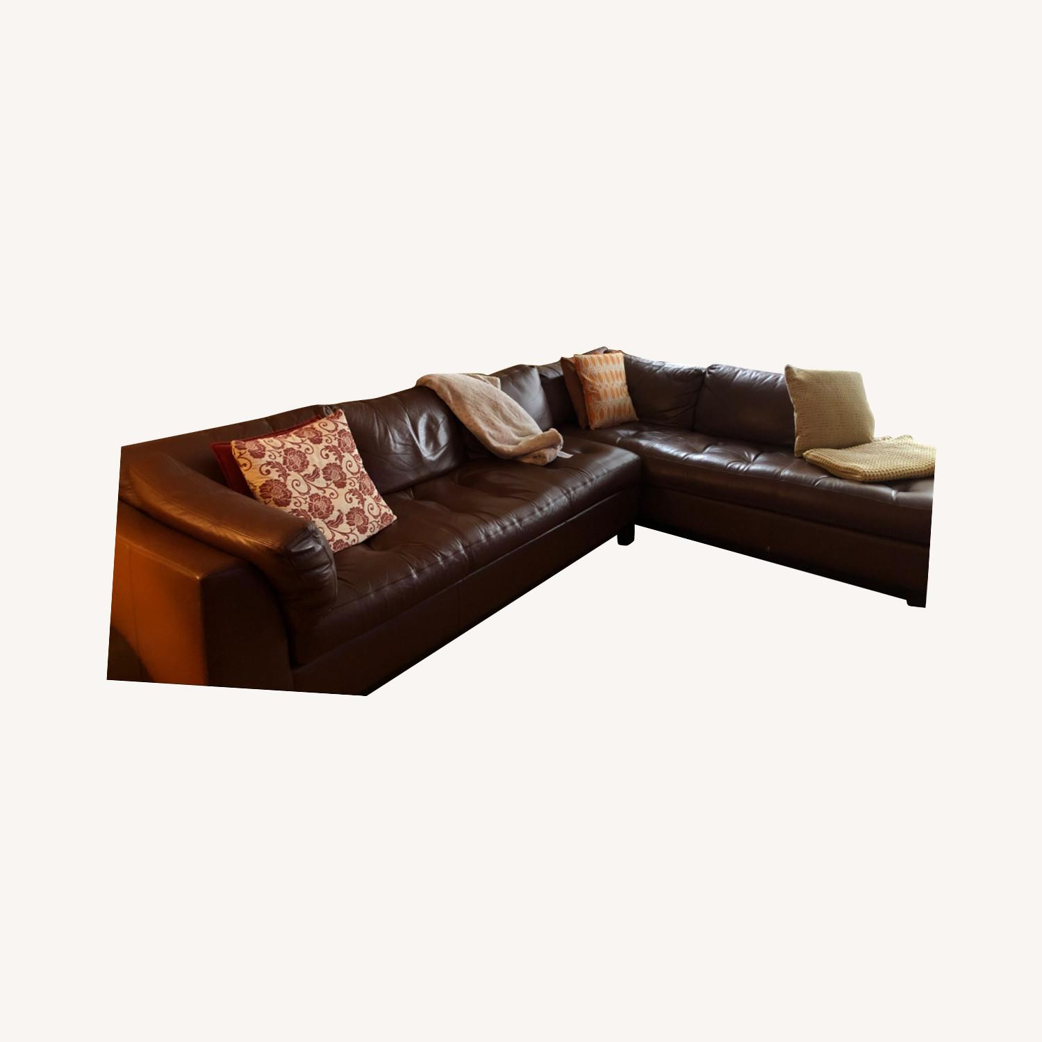 Bloomingdales Brown Leather Sectional - image-0