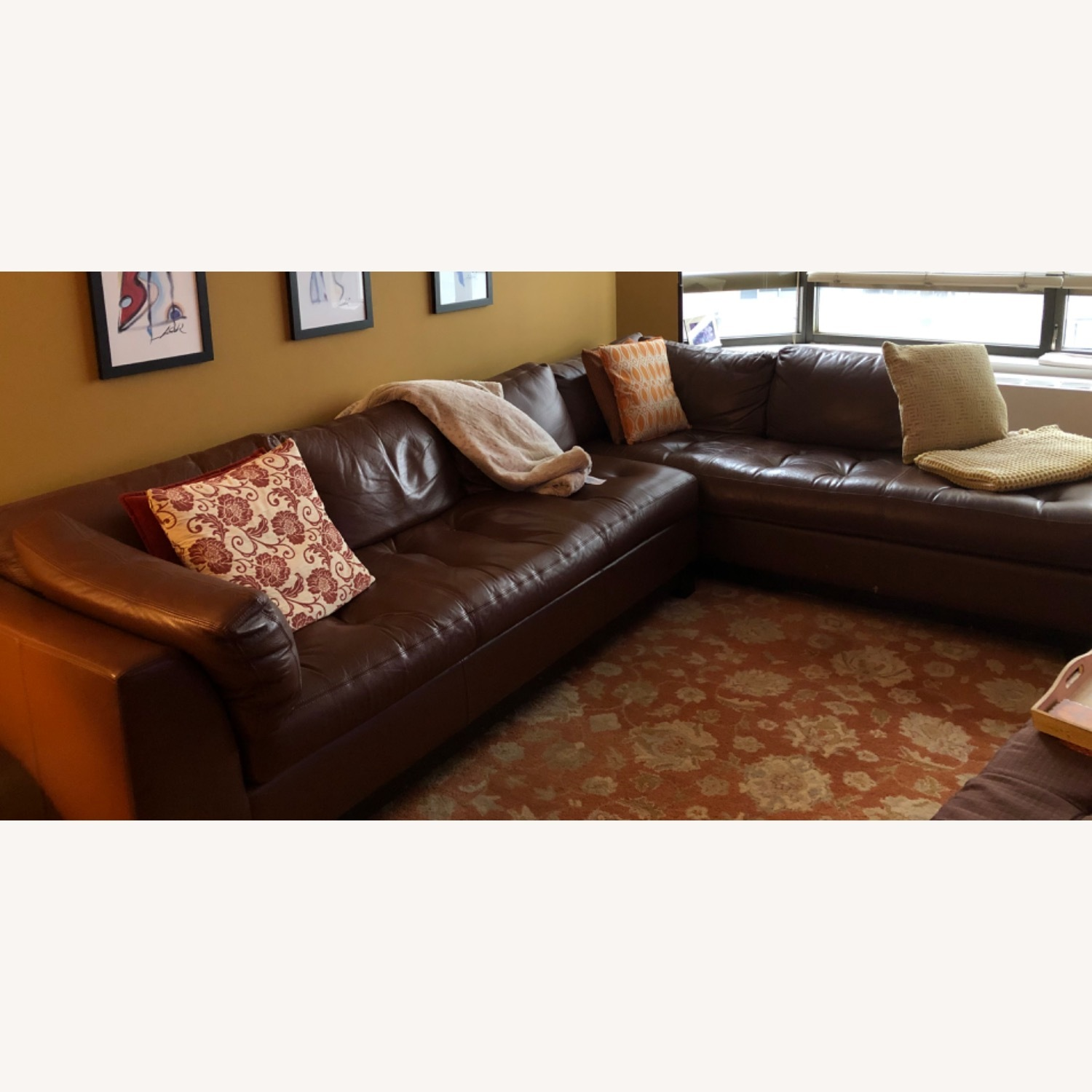 Bloomingdales Brown Leather Sectional - image-1