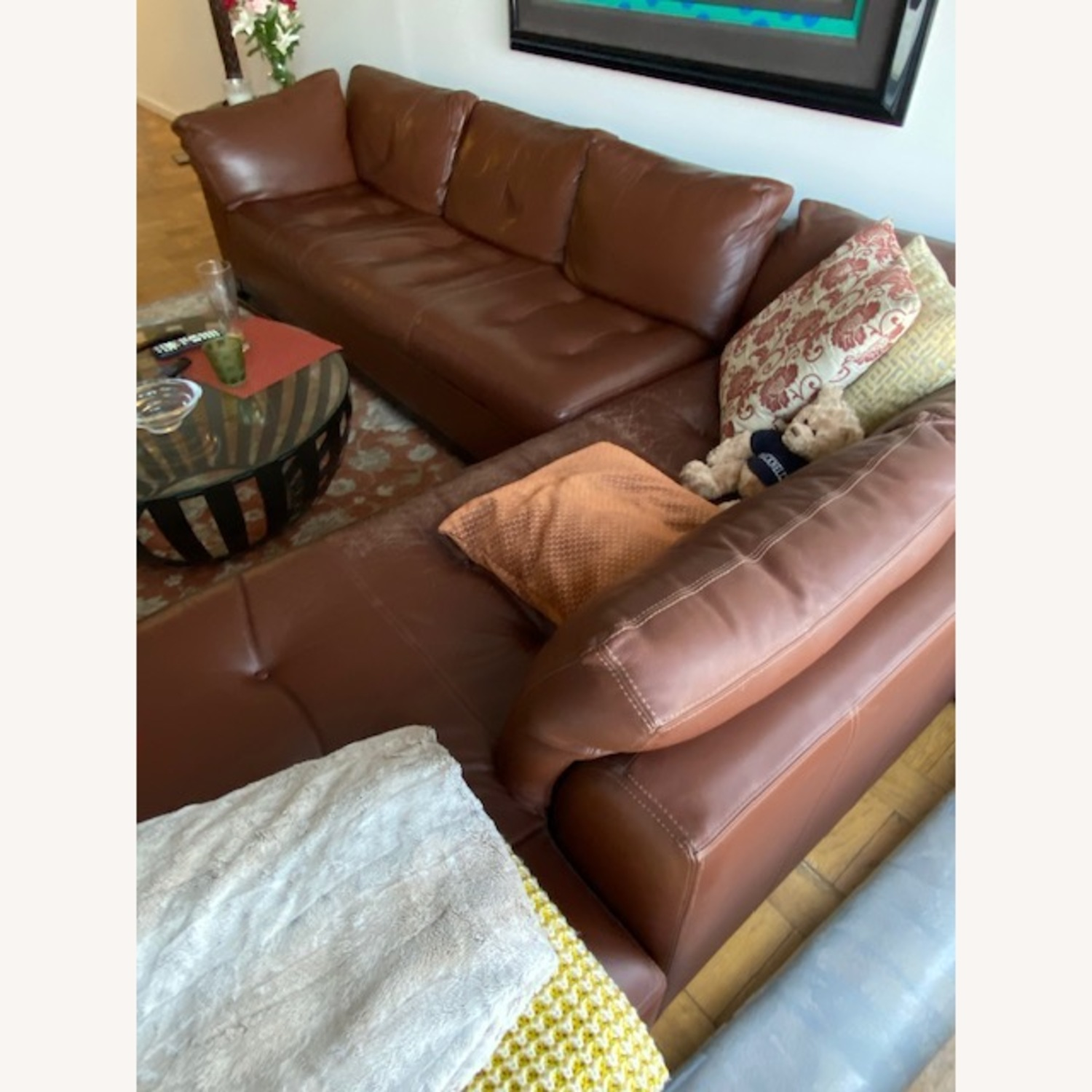 Bloomingdales Brown Leather Sectional - image-2
