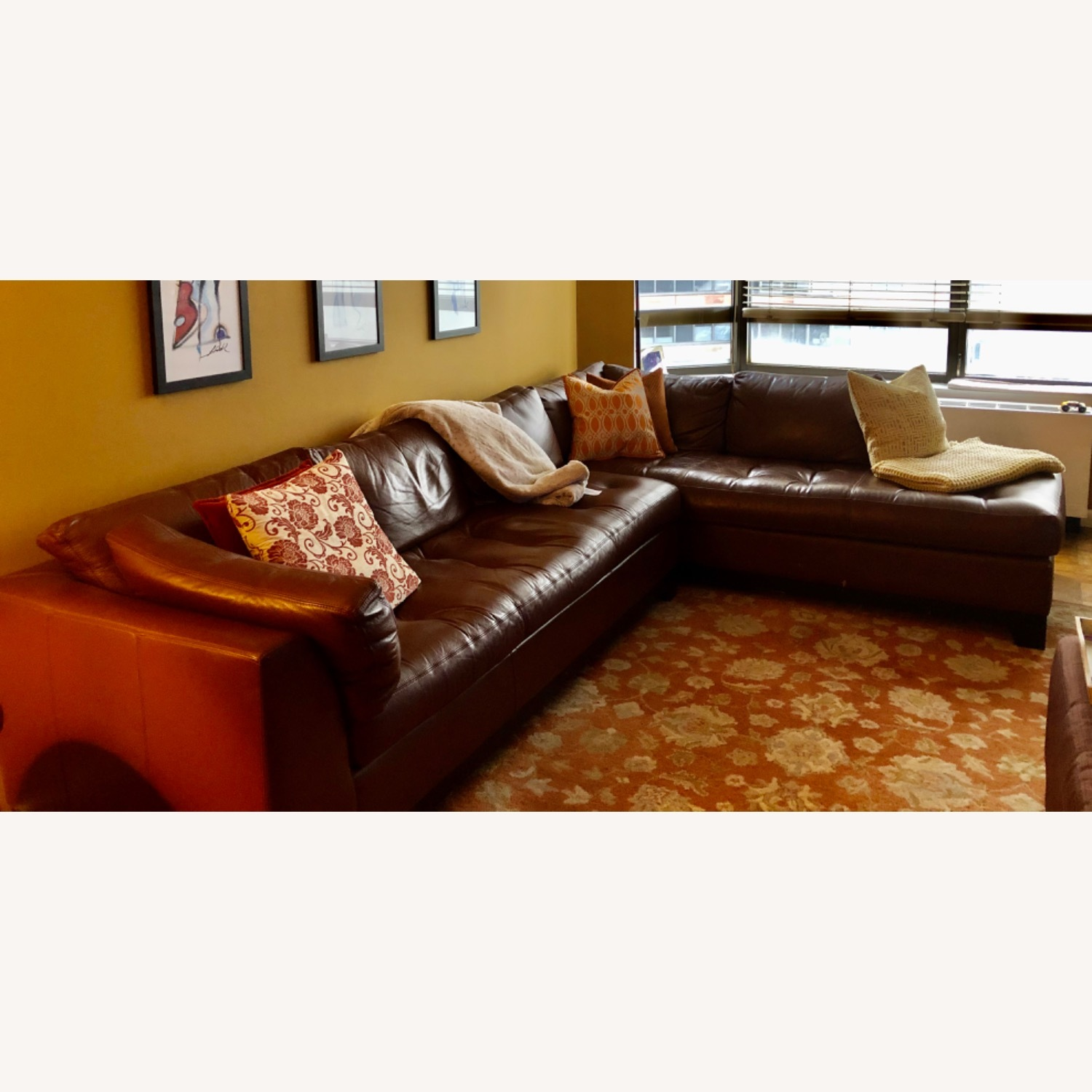 Bloomingdales Brown Leather Sectional - image-3