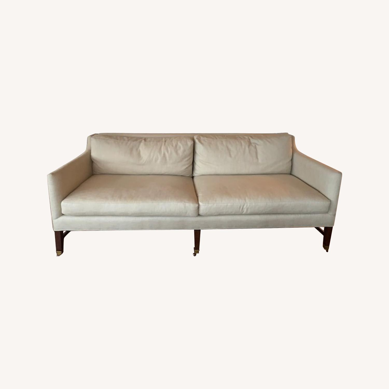 Lee Jofa Upholstered Sofas with Bronze Capped Legs - image-0