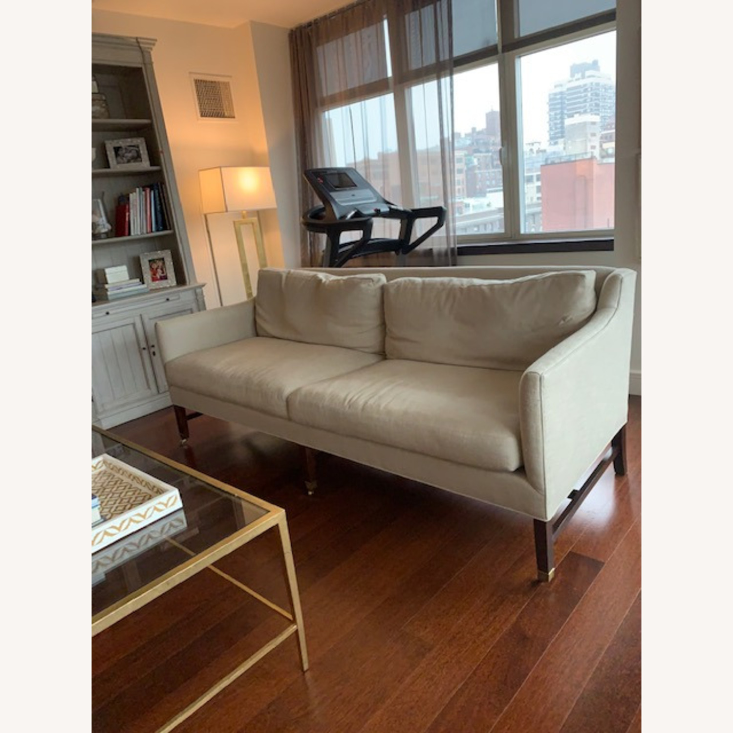 Lee Jofa Upholstered Sofas with Bronze Capped Legs - image-5