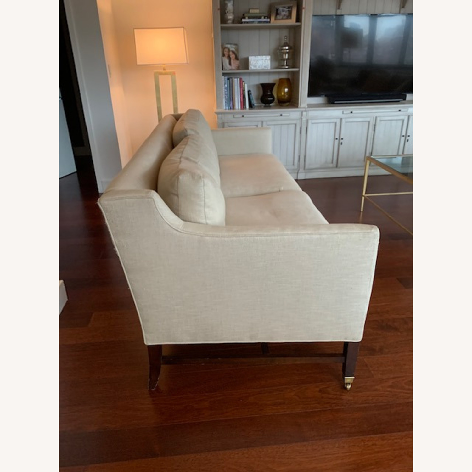 Lee Jofa Upholstered Sofas with Bronze Capped Legs - image-3