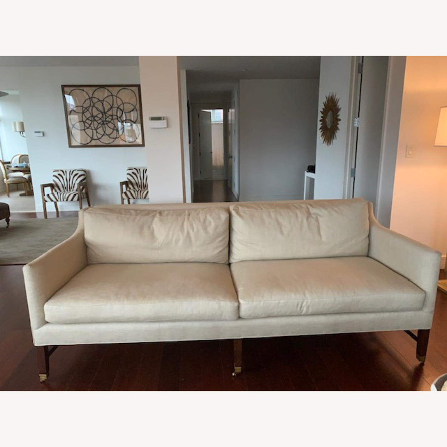 Lee Jofa Upholstered Sofas with Bronze Capped Legs - image-1