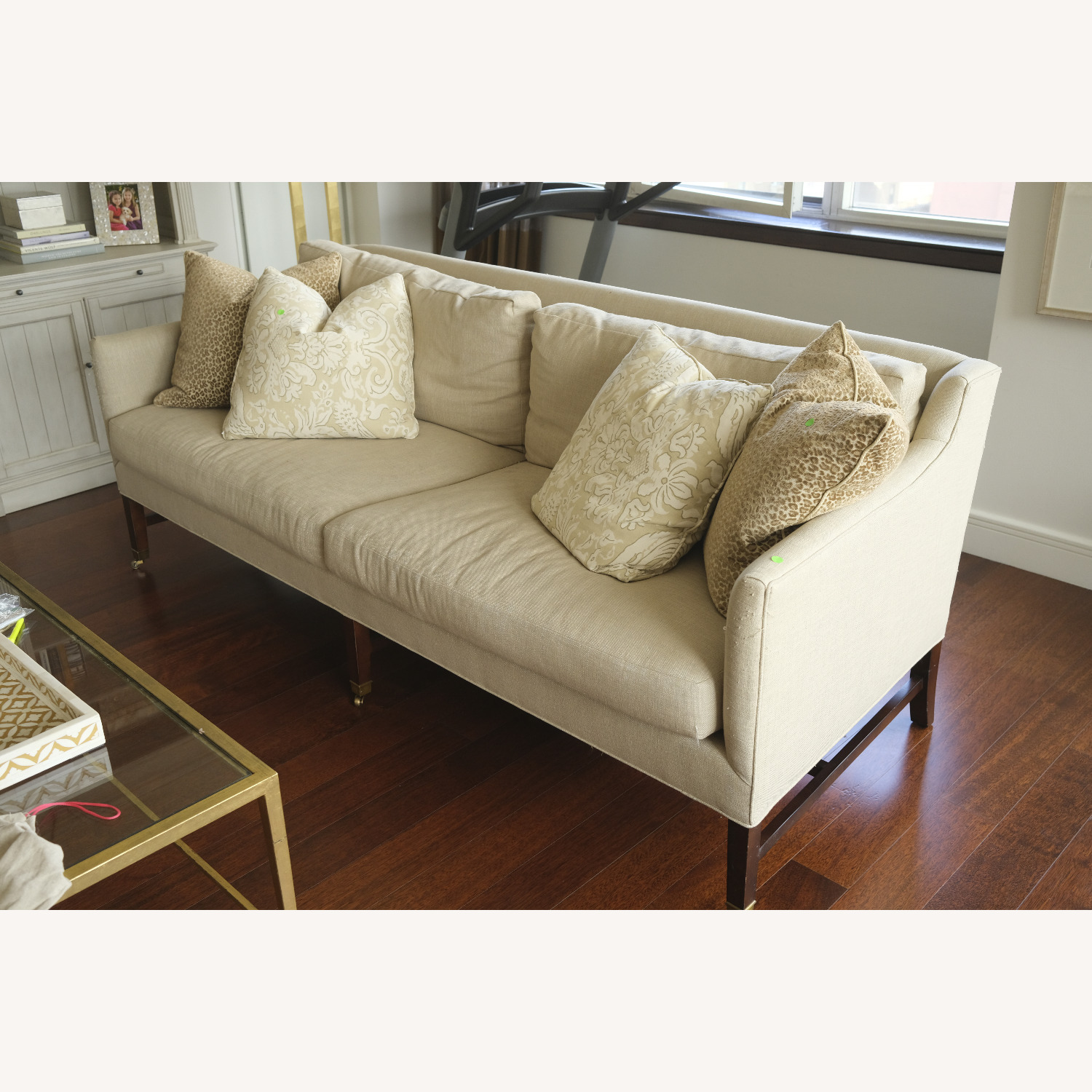 Lee Jofa Upholstered Sofas with Bronze Capped Legs - image-7