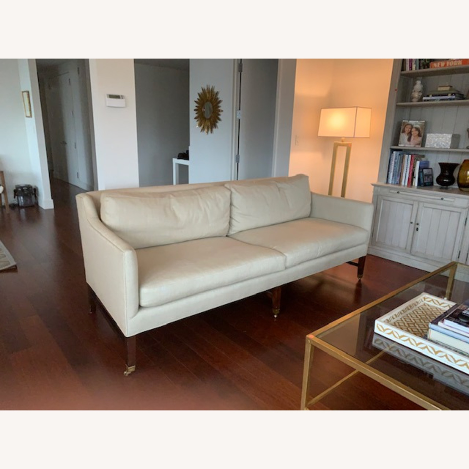 Lee Jofa Upholstered Sofas with Bronze Capped Legs - image-2