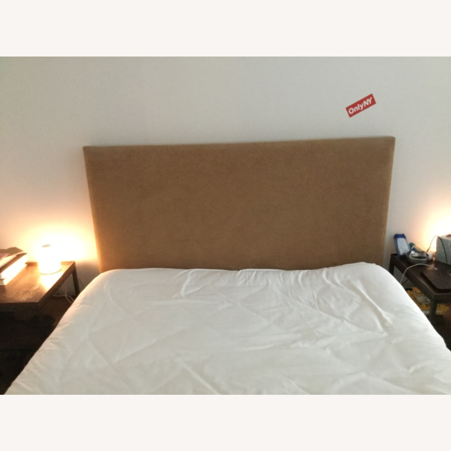 Ultra Suede Headboard Queens Size w Frame - image-1
