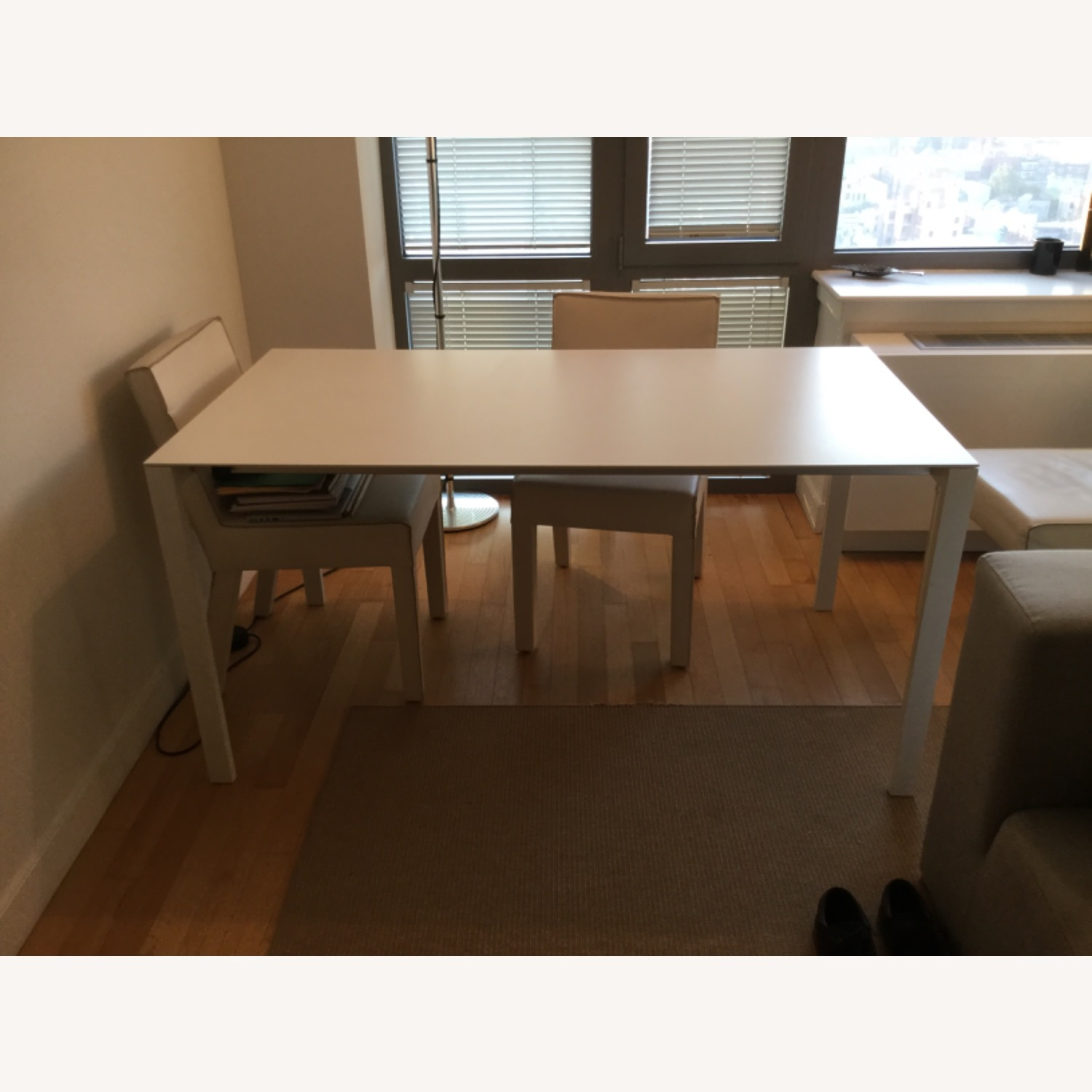 CB2 Expendable White Dinning table (Seat up to 8) - image-1