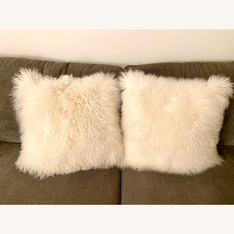 White Faux Fur Decorative Pillows - image-1