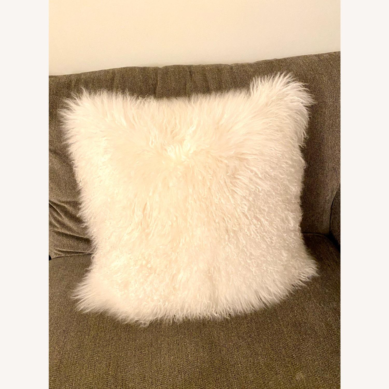 White Faux Fur Decorative Pillows - image-2