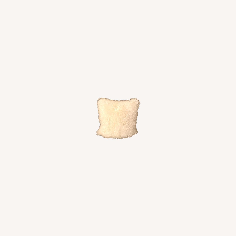 White Faux Fur Decorative Pillows - image-0