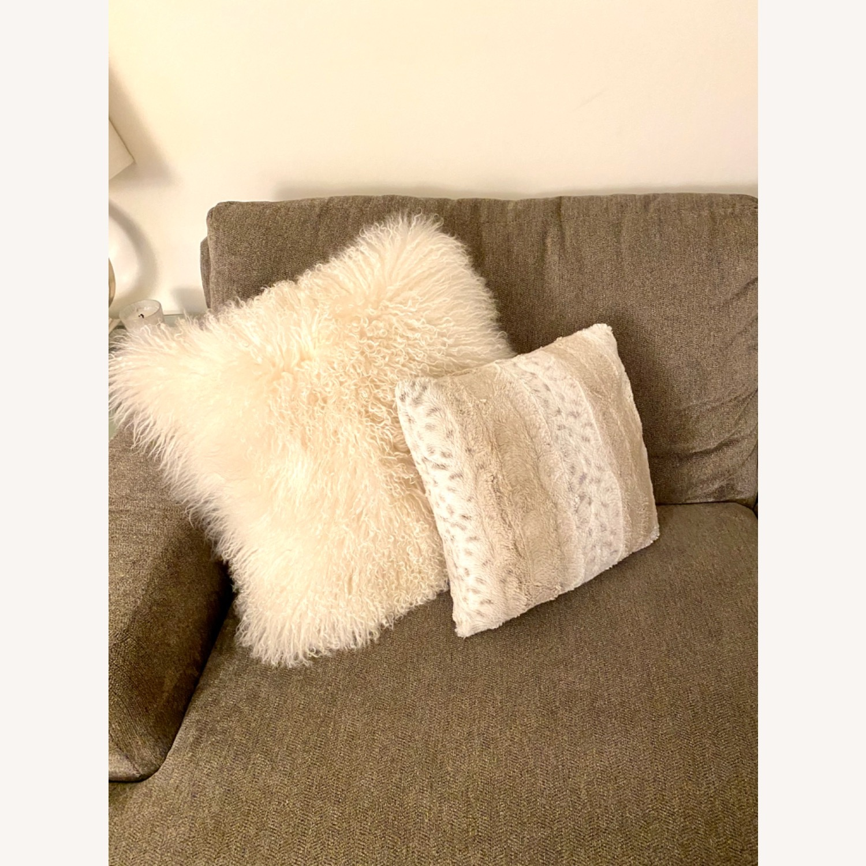 White Faux Fur Decorative Pillows - image-3