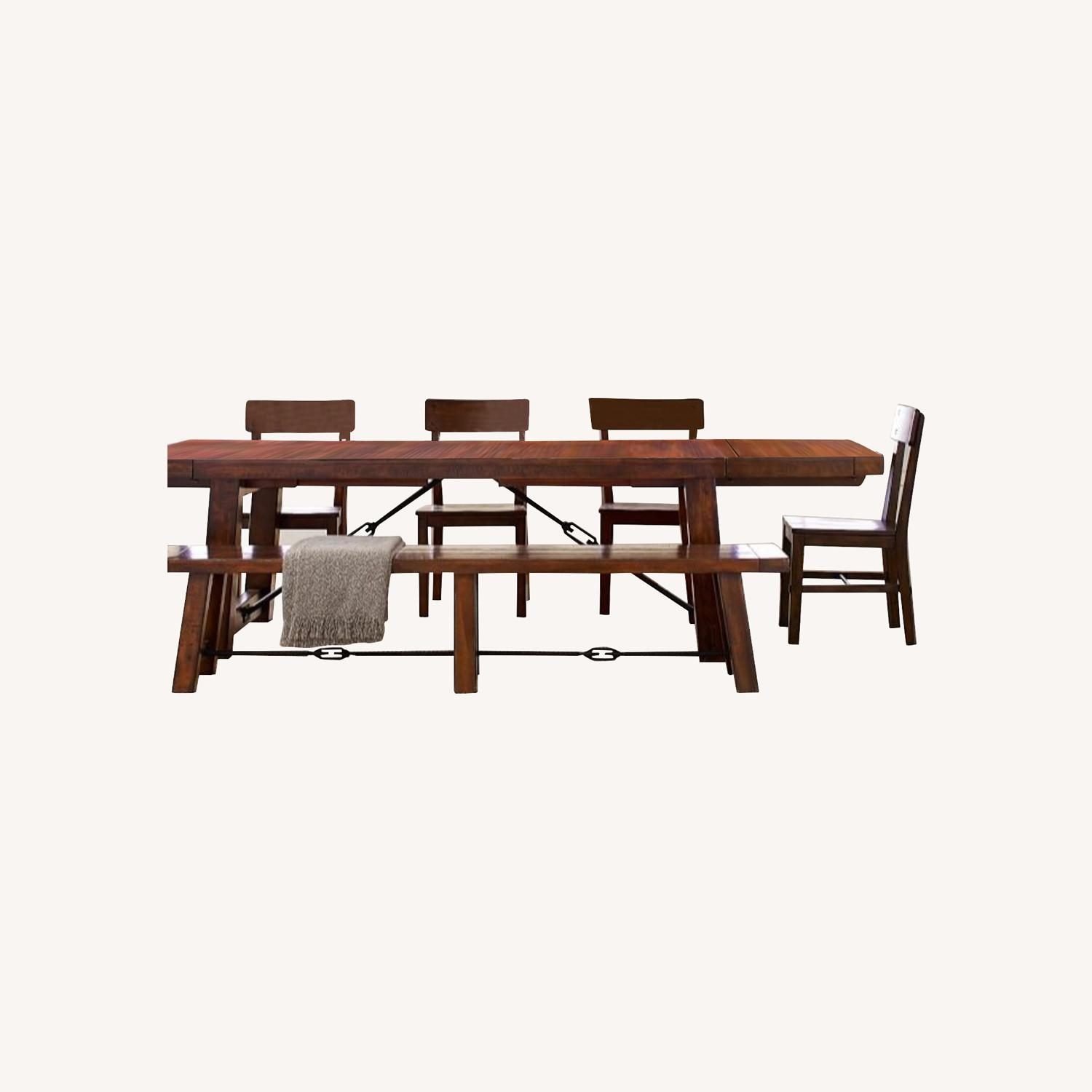 Pottery Barn Distressed Wood Rustic Table and Benches - image-0