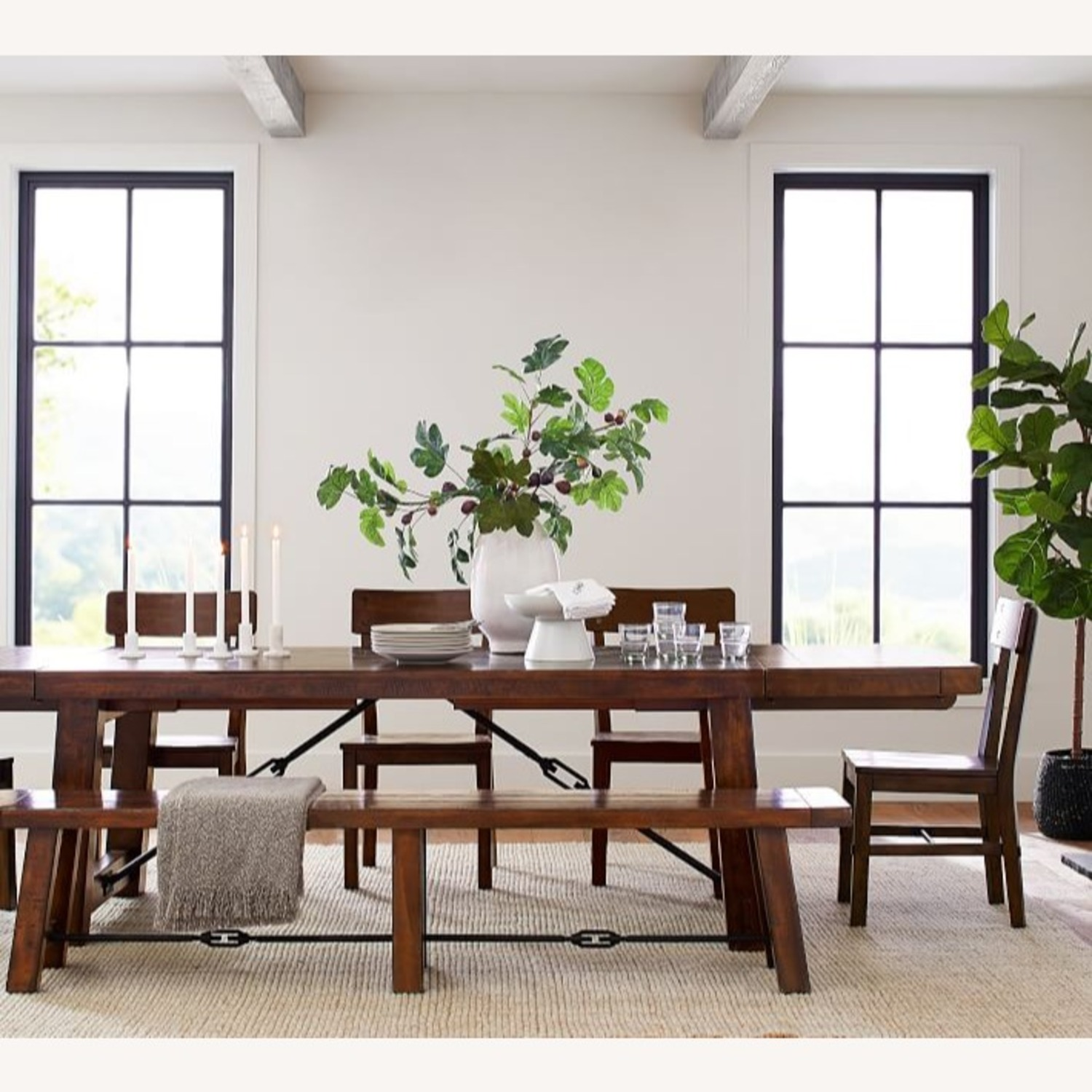 Pottery Barn Distressed Wood Rustic Table and Benches - image-3