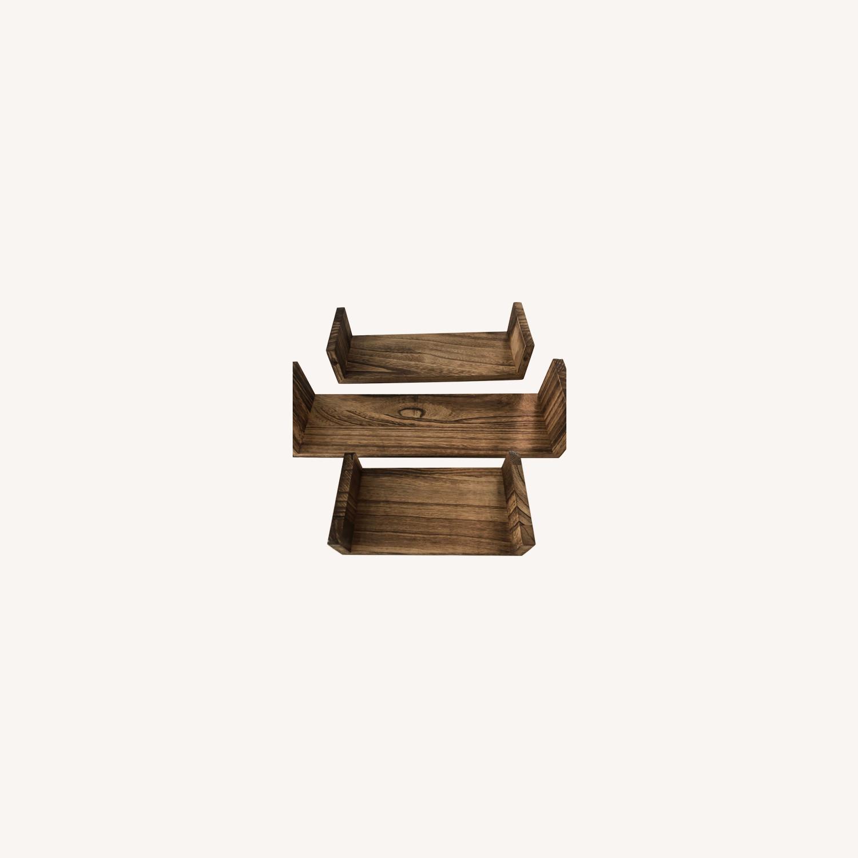 Brown Wood Wall Shelves (2 sets of 3!) - image-0