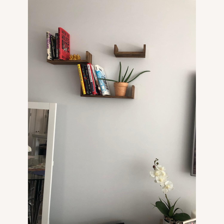 Brown Wood Wall Shelves (2 sets of 3!) - image-3