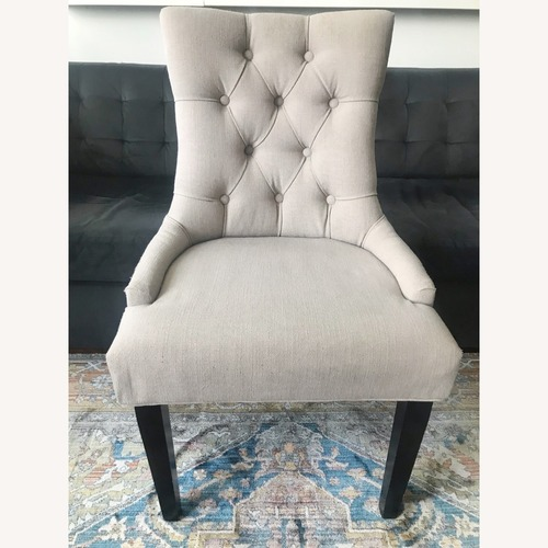 Used 6 Safavieh Linen and Nailhead Dining Chairs for sale on AptDeco