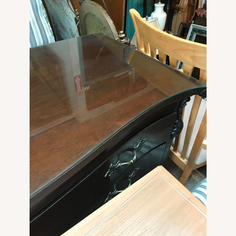 Antique 1900s Mahogany Dresser w/ Protection Glass - image-36