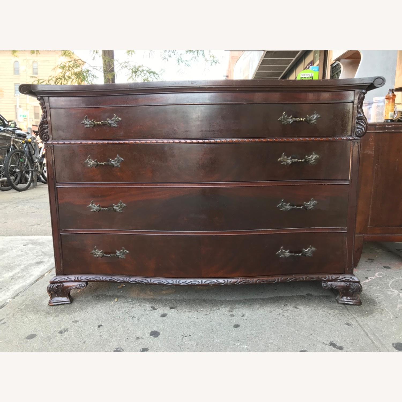 Antique 1900s Mahogany Dresser w/ Protection Glass - image-2