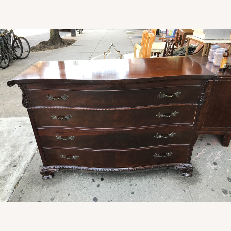 Antique 1900s Mahogany Dresser w/ Protection Glass - image-3