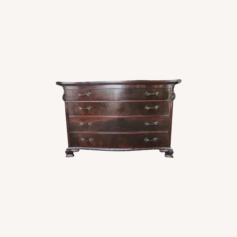 Antique 1900s Mahogany Dresser w/ Protection Glass - image-0