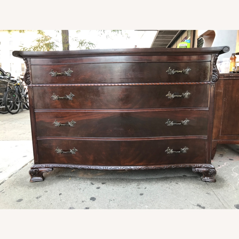 Antique 1900s Mahogany Dresser w/ Protection Glass - image-1