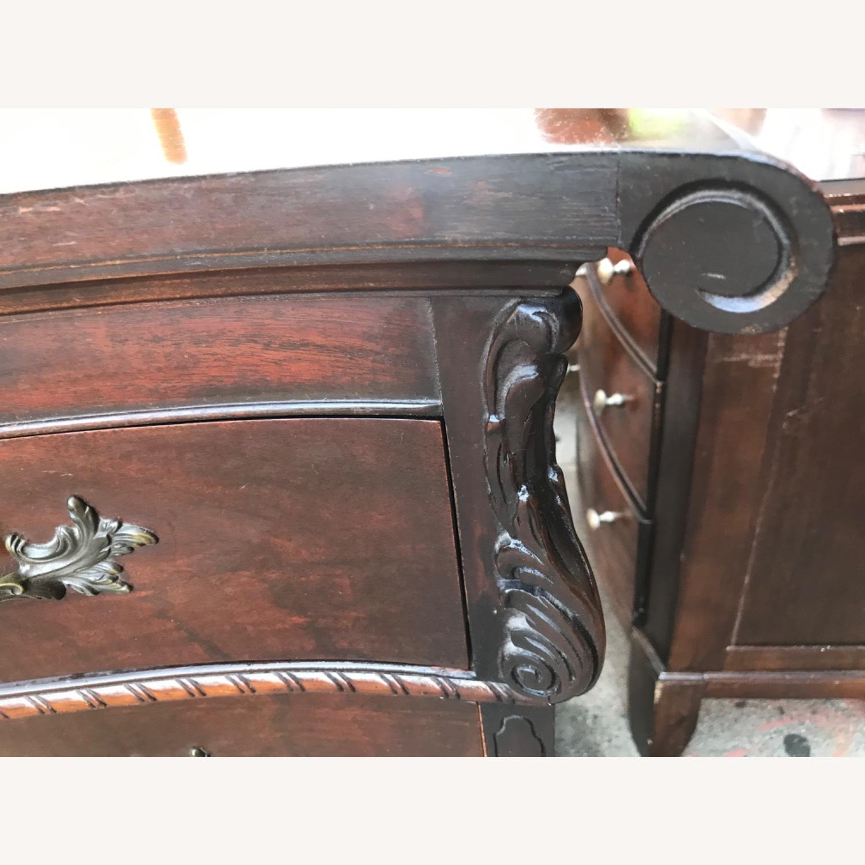 Antique 1900s Mahogany Dresser w/ Protection Glass - image-8