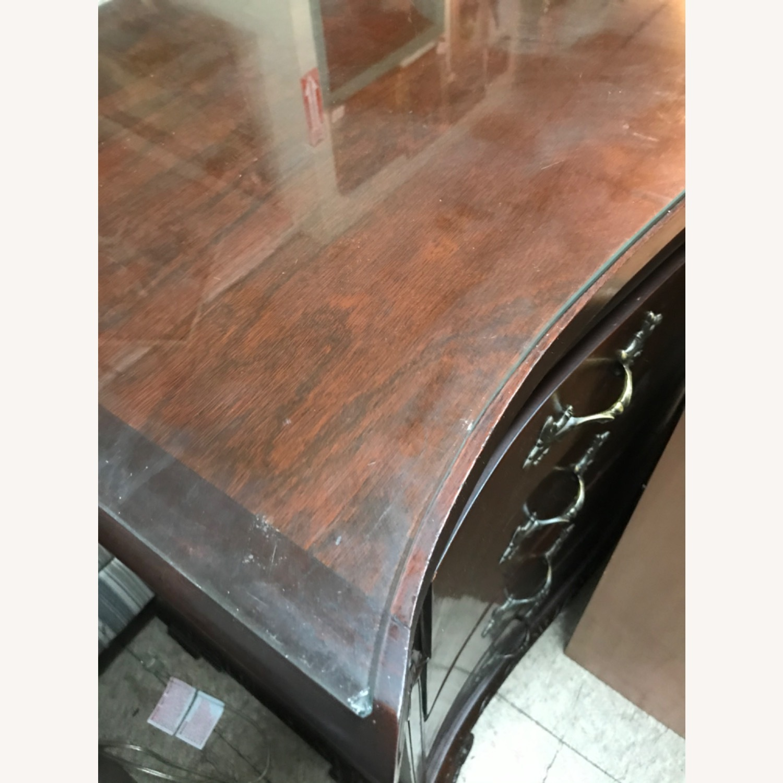 Antique 1900s Mahogany Dresser w/ Protection Glass - image-34