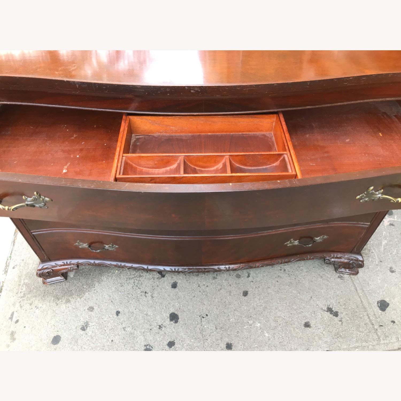 Antique 1900s Mahogany Dresser w/ Protection Glass - image-21