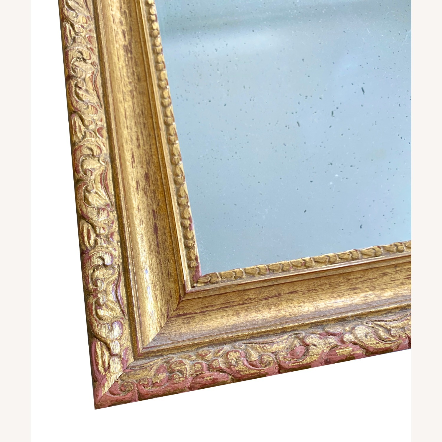 Pair of Antique Burnished Gold Red Mirrors - image-2