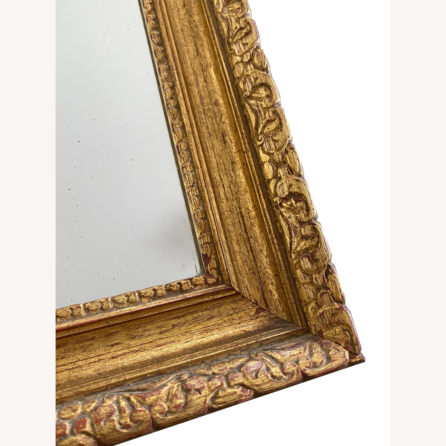 Pair of Antique Burnished Gold Red Mirrors - image-1