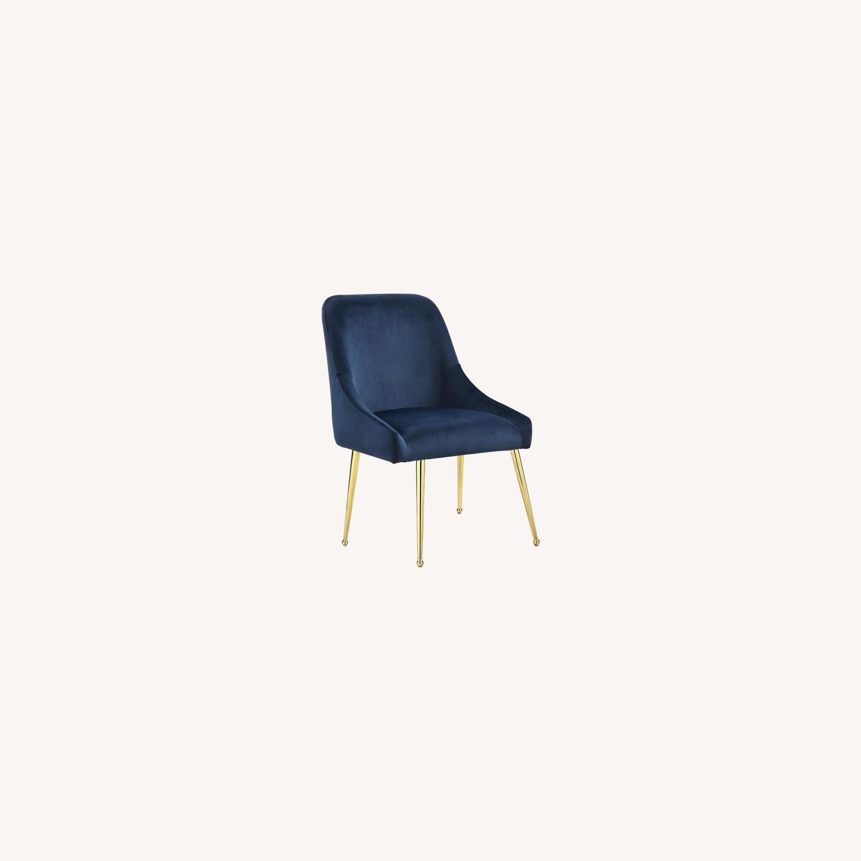 Modern Side Chair In Dark Ink Blue Fabric - image-5