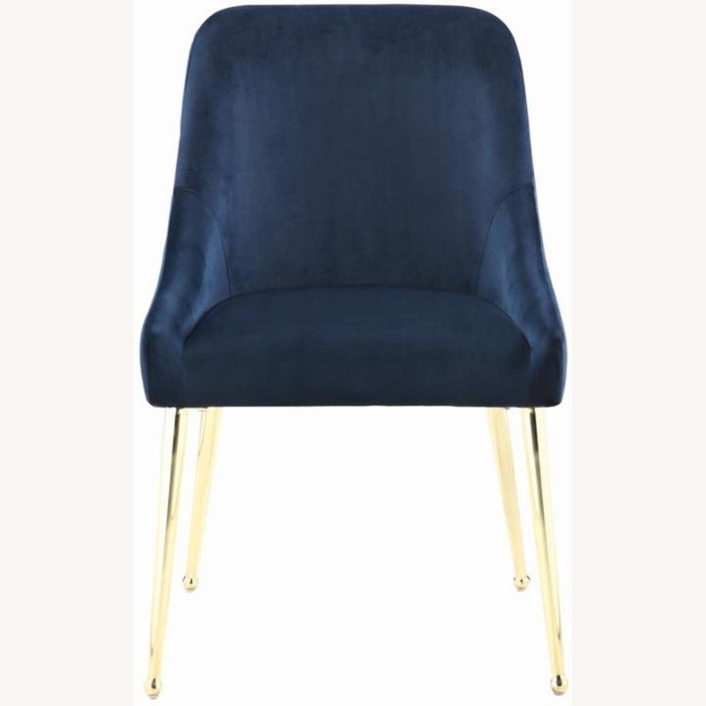 Modern Side Chair In Dark Ink Blue Fabric - image-1
