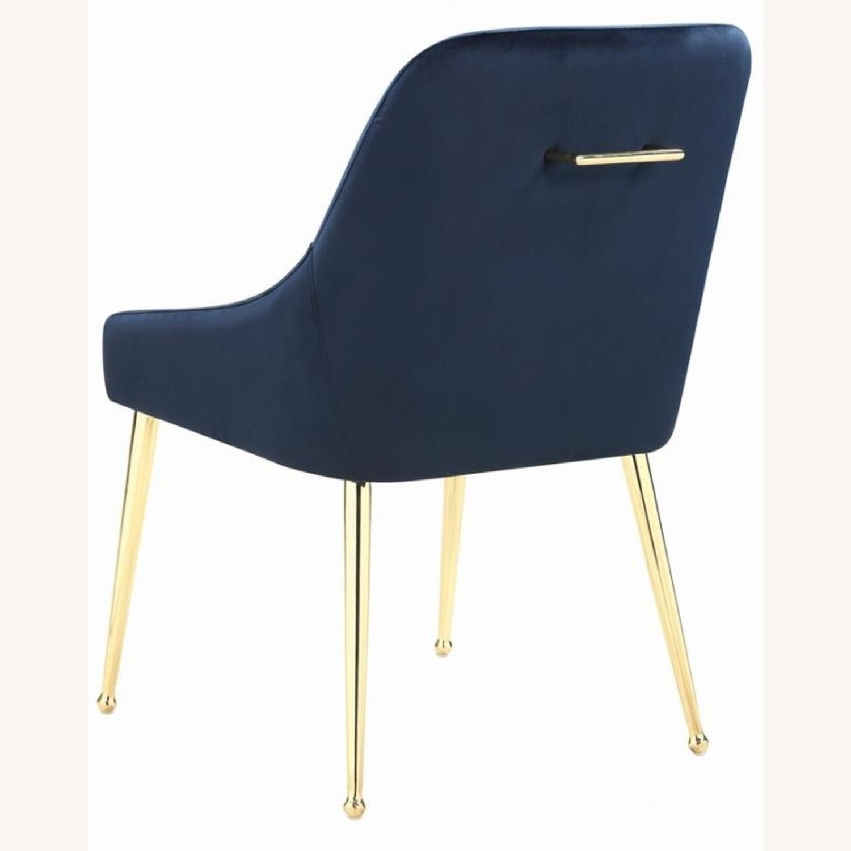 Modern Side Chair In Dark Ink Blue Fabric - image-3