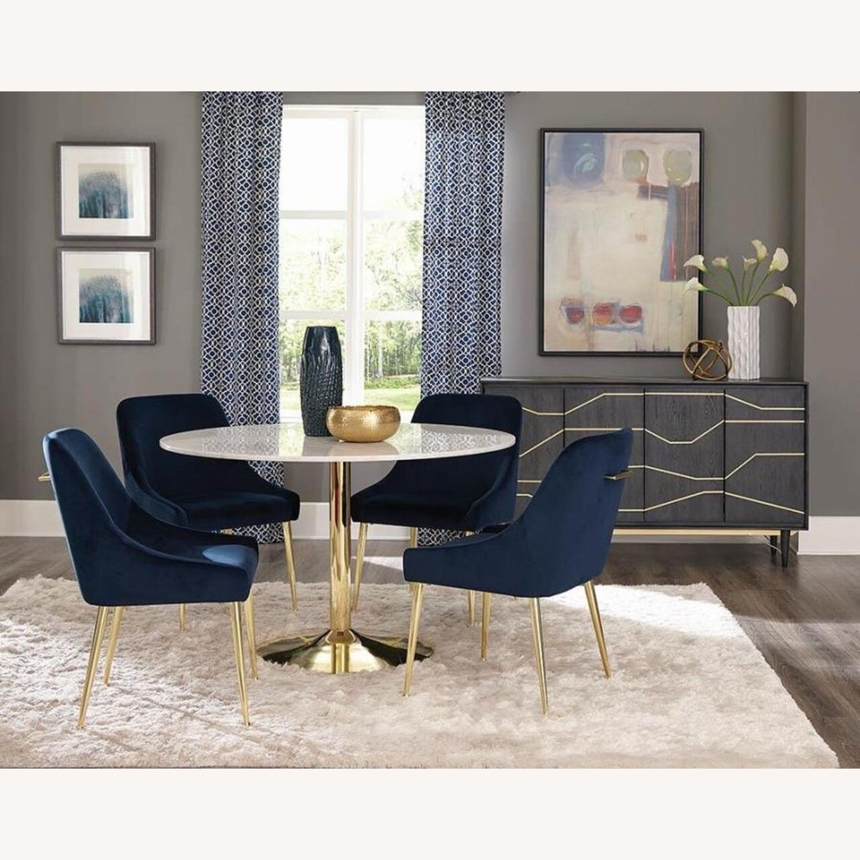 Modern Side Chair In Dark Ink Blue Fabric - image-4
