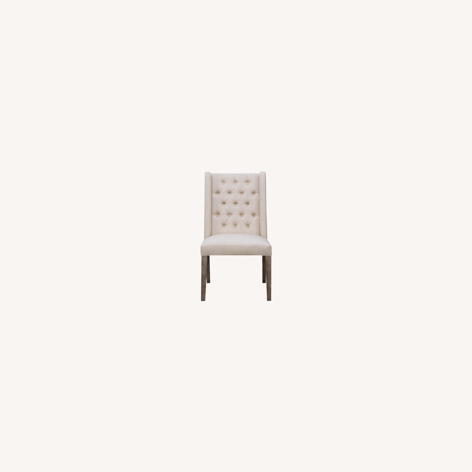 Transitional Side Chair In Beige Fabric - image-5