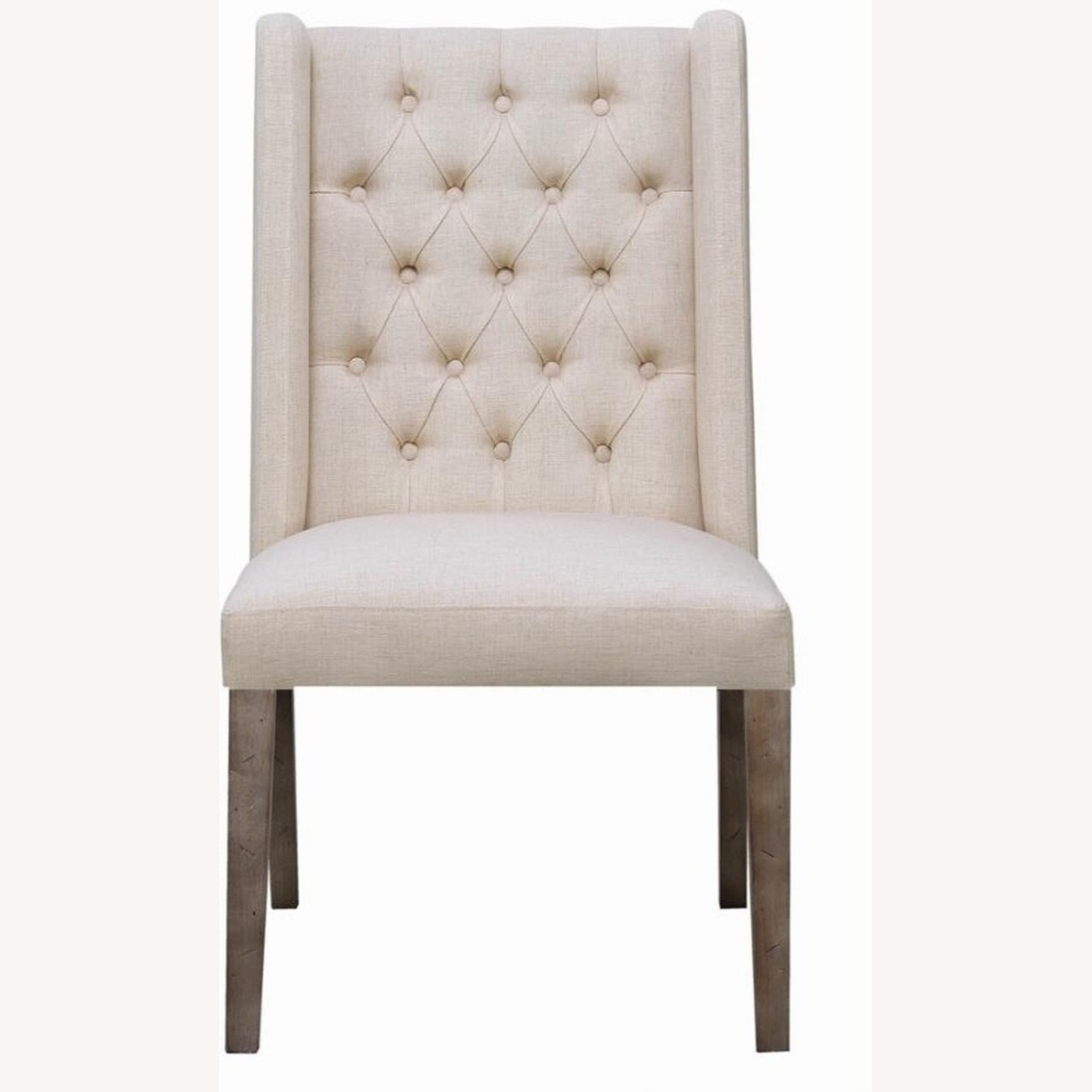 Transitional Side Chair In Beige Fabric - image-1