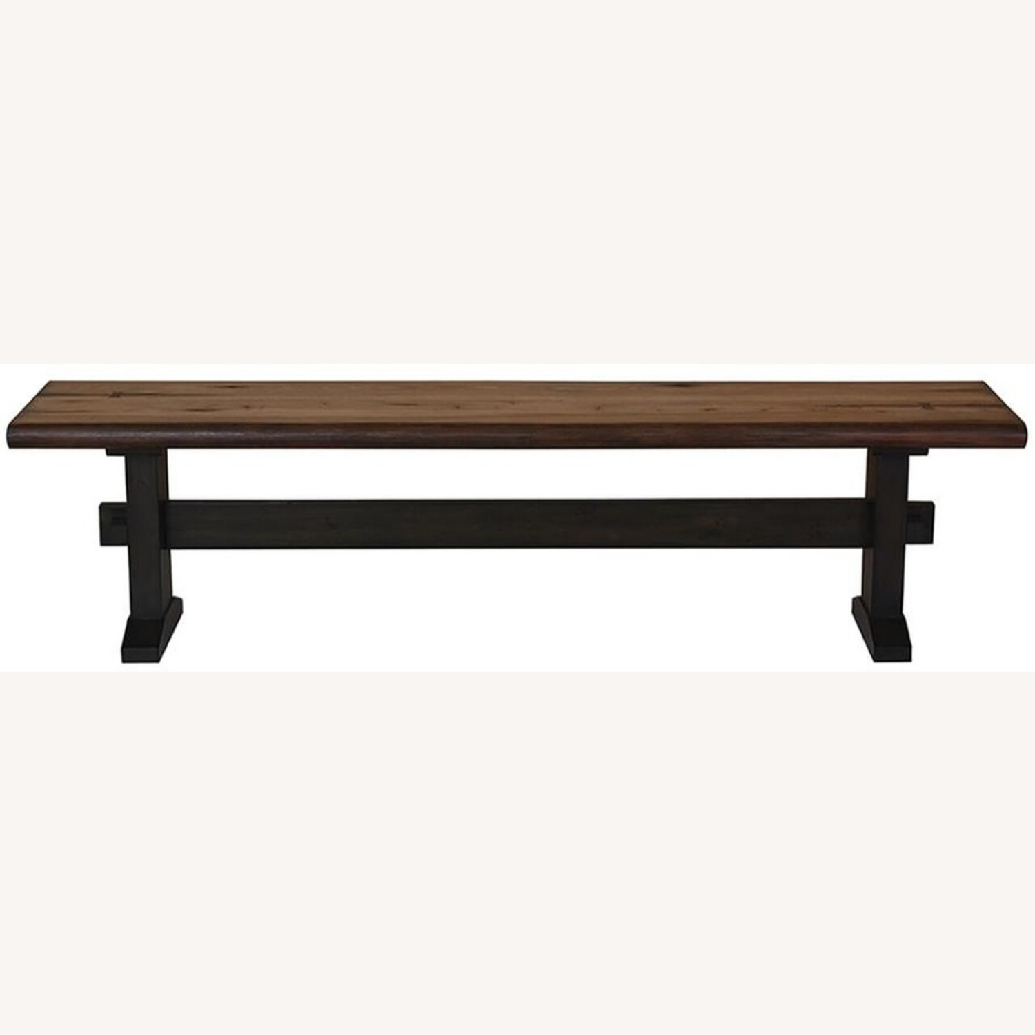Transitional Live Edge Bench In Honey Toned Finish - image-1