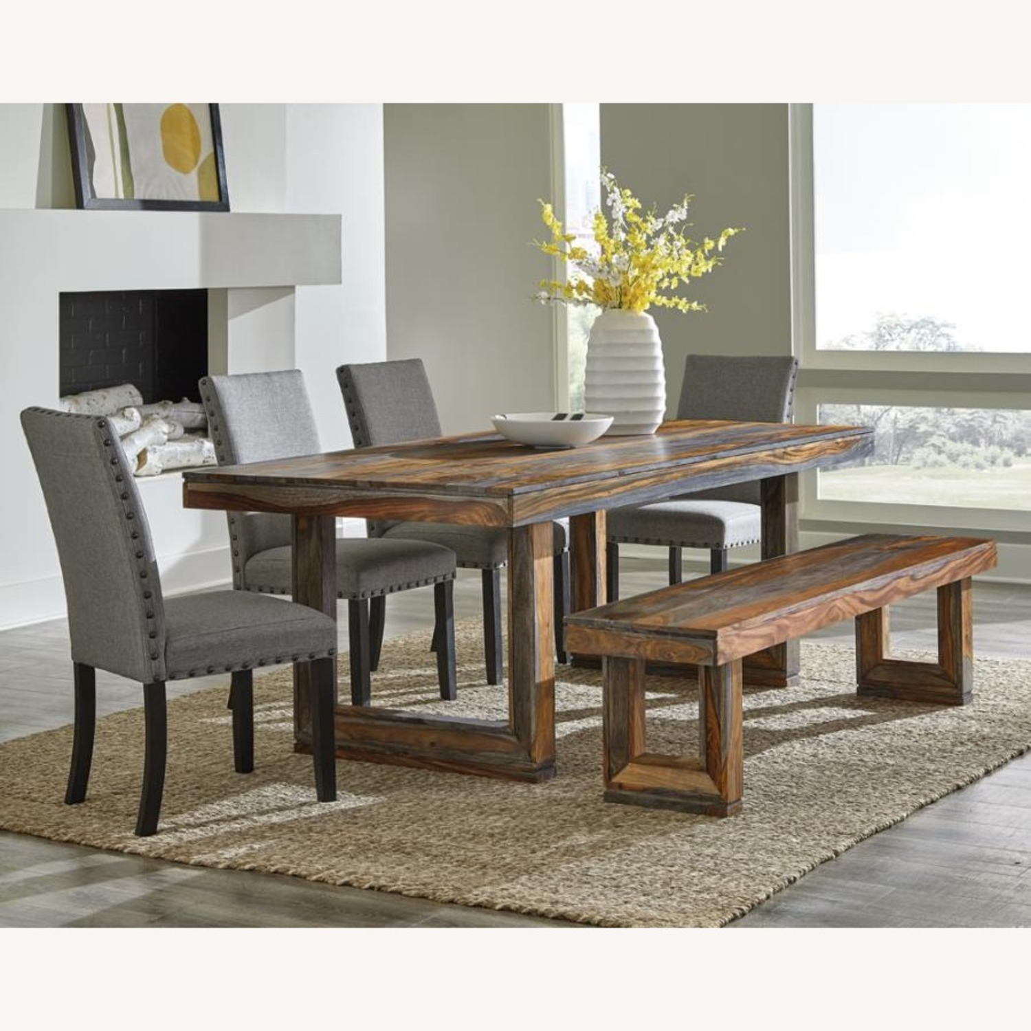 Rustic Dining Table In Grey Finish - image-2